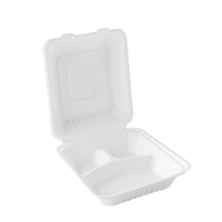9''*9''*3'' Disposable Eco Bagasse 3-Com Clamshell Box