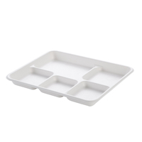 "10.23""x8.27'' Reusable Bagasse 5-Compartment Tray"
