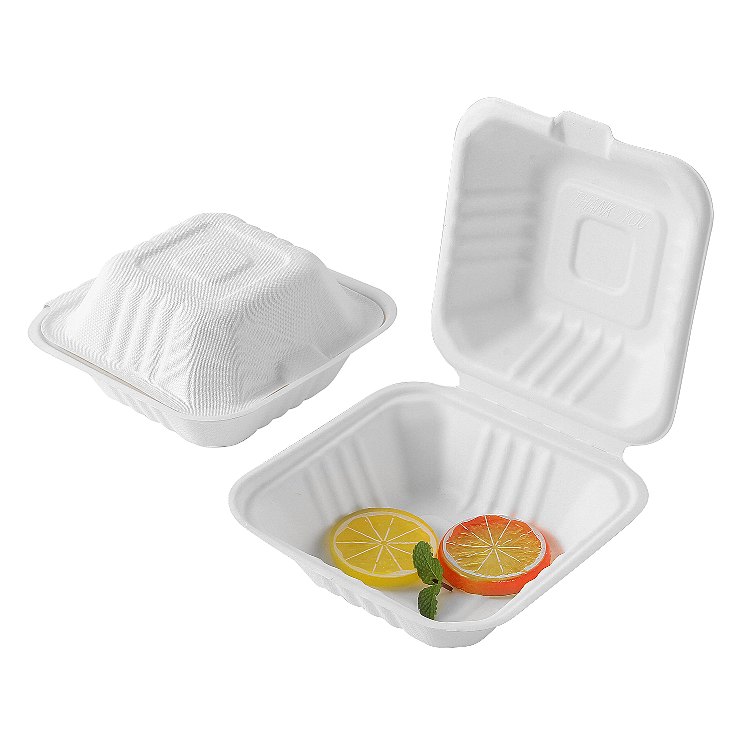 "6""x6"" x3"" Take Away Sugarcane Pulp Hamburger Box"