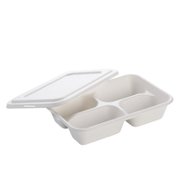 "10.23""x8.66'' Compostable Bagasse 4-Compartment Tray with Lid"