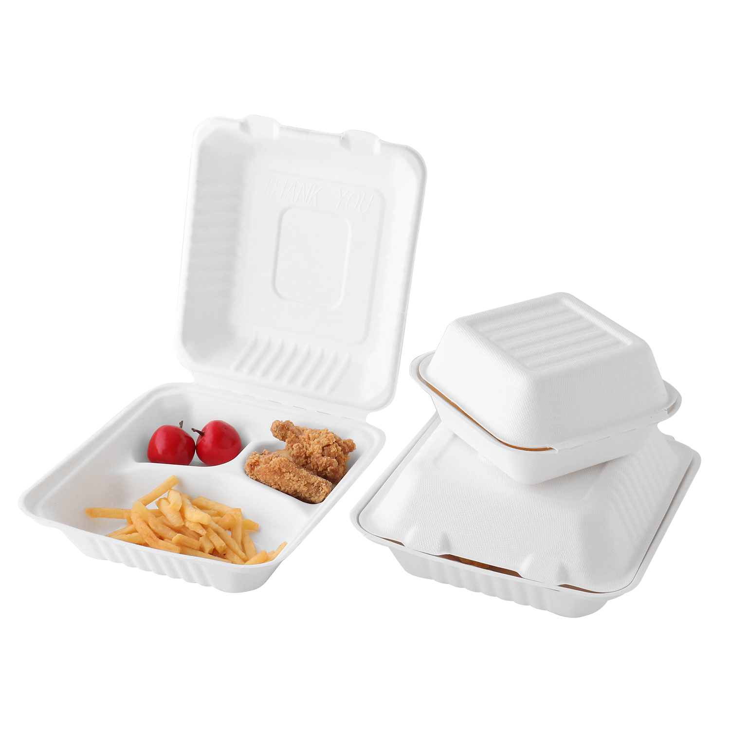 9''*9''*3'' Disposable Eco Bagasse 3 Compartment Clamshell Box